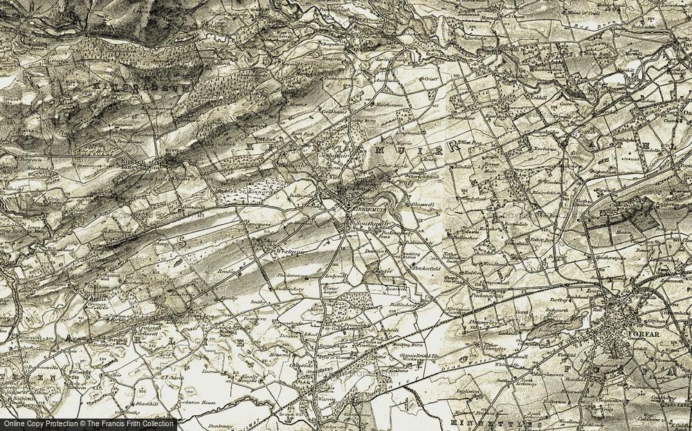 Old Map of Kirriemuir, 1907-1908 in 1907-1908