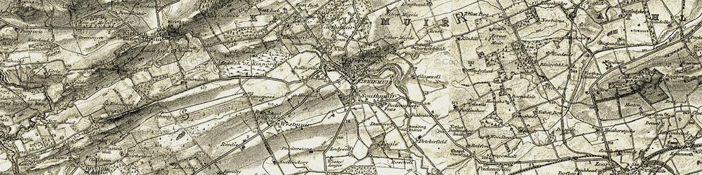 Old map of Kirriemuir in 1907-1908