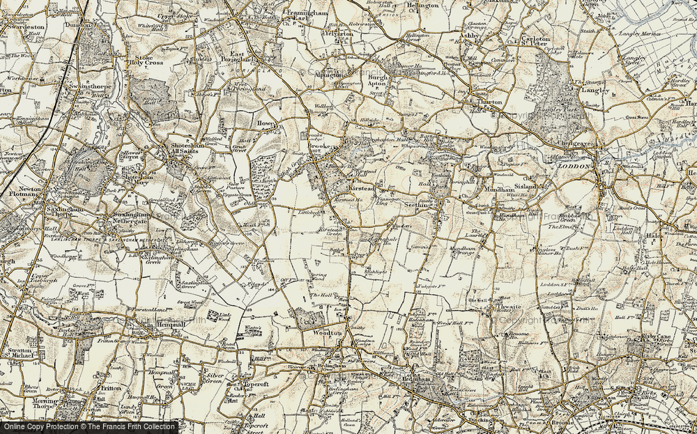 Old Map of Kirstead Green, 1901-1902 in 1901-1902