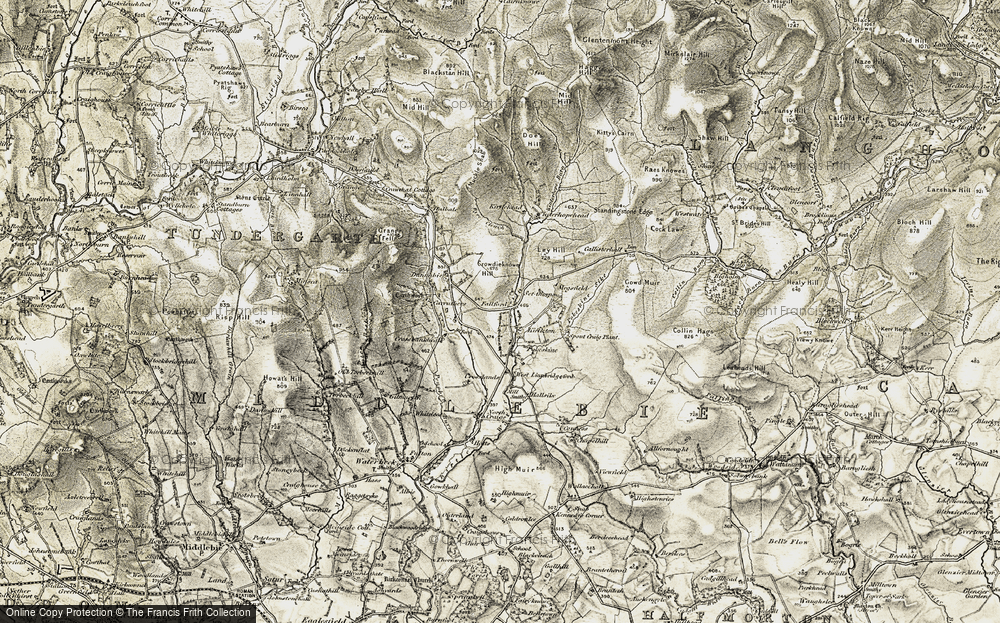 Old Map of Historic Map covering Lauriesclose in 1901-1904