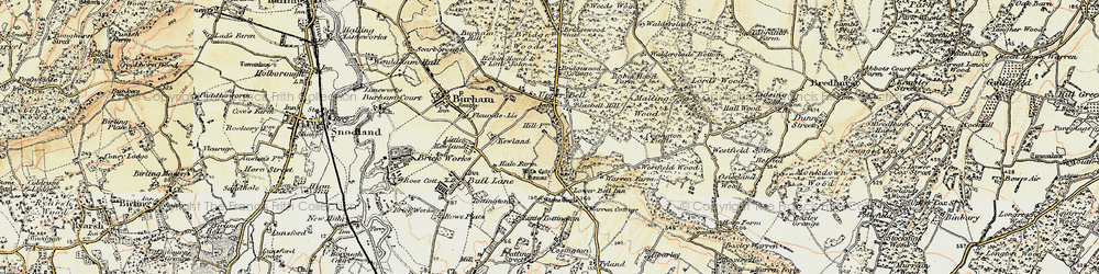 Old map of White Horse Stone in 1897-1898