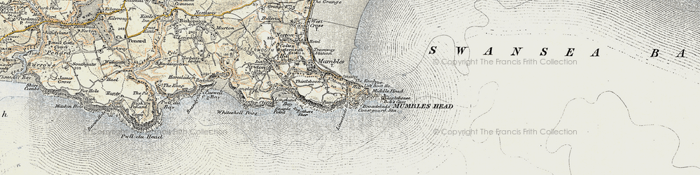 Old map of Limeslade Bay in 1900-1901