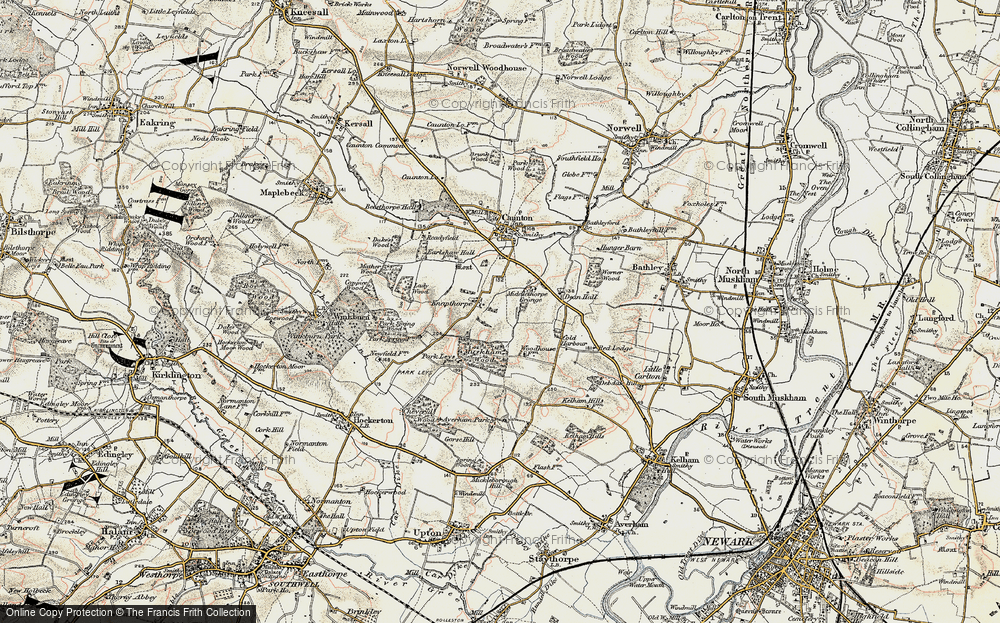 Old Map of Historic Map covering Averham Park in 1902-1903
