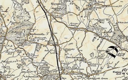 Old map of Knebworth in 1898-1899
