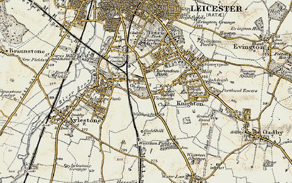 Old map of Knighton in 1901-1903