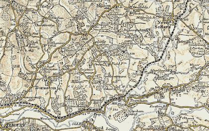 Old map of Knighton on Teme in 1901-1902