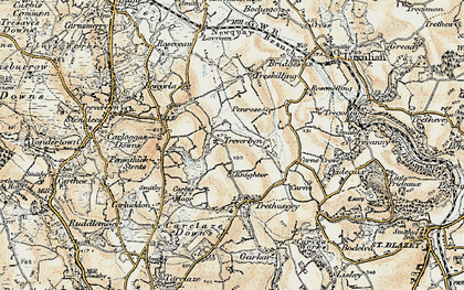 Old map of Knightor in 1900