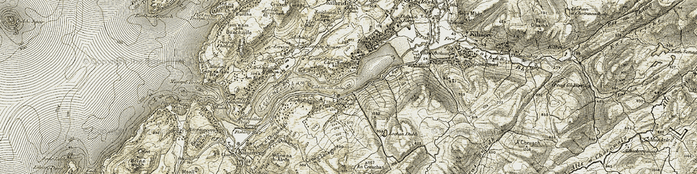 Old map of An Creachan in 1906-1907