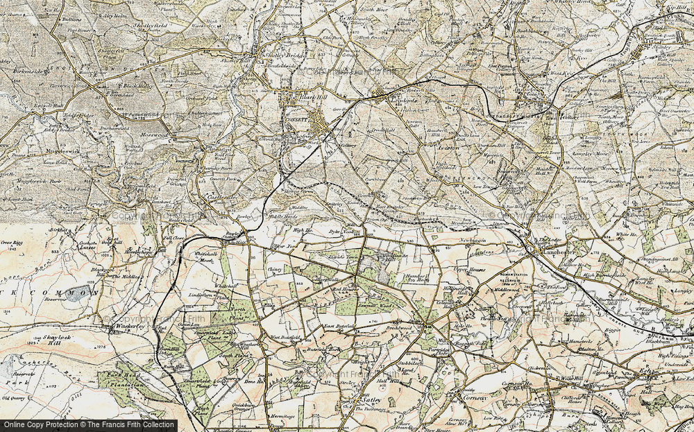 Old Map of Historic Map covering Woodlands Hall in 1901-1904