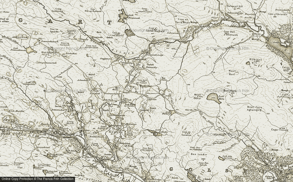 Old Map of Historic Map covering Achvoan in 1910-1912