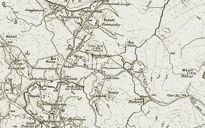 Old map of Achvoan in 1910-1912