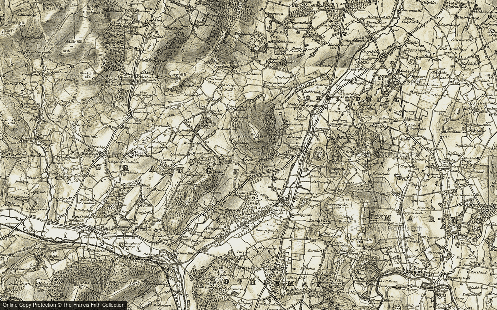 Old Map of Historic Map covering Woodhead in 1910