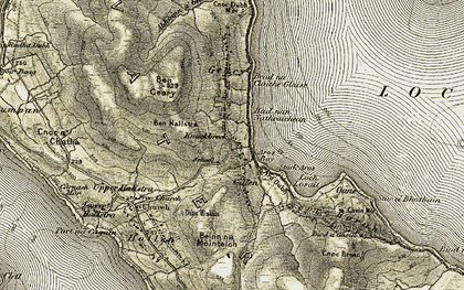 Old map of Bad nan Nathraichean in 1908-1911