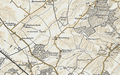 Old map of Yelden Wold in 1898-1901