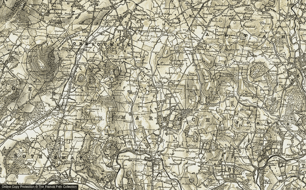 Old Map of Historic Map covering Auchintoul Moss in 1910