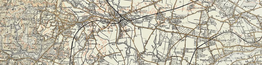 Old map of Penton Hook in 1897-1909