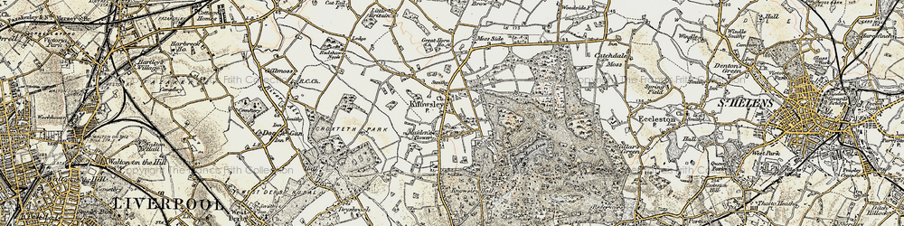 Old map of Knowsley in 1902-1903