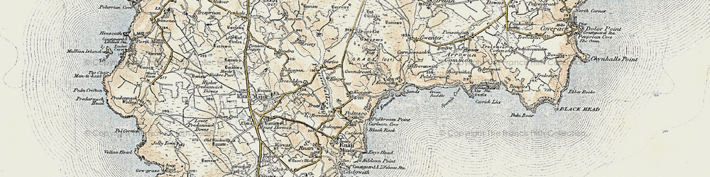 Old map of Kennack Sands in 1900