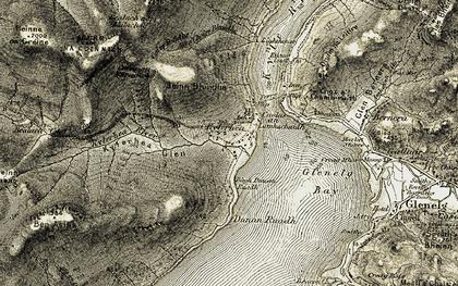 Old map of Bàgh Dùnan Ruadh in 1908-1909