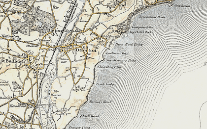 Old map of Ladram Bay in 1899