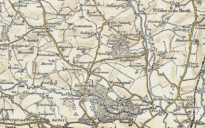 Old map of Ladycross in 1900