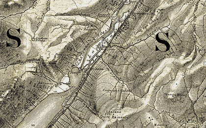 Old map of Allt Teanga Bige in 1908