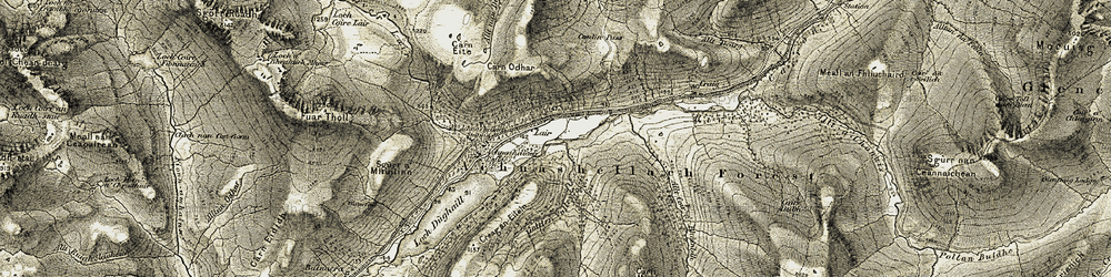 Old map of Achnashellach Forest in 1908-1909