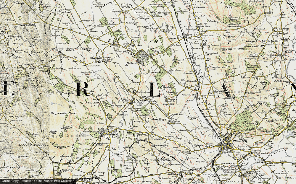 Old Map of Historic Map covering Woodhouse in 1901-1904