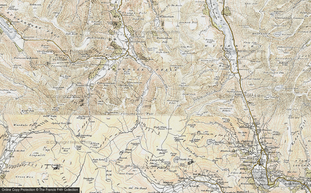 Old Map of Historic Map covering Langstrath Beck in 1903-1904