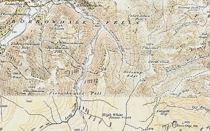 Old map of Langstrath Beck in 1903-1904
