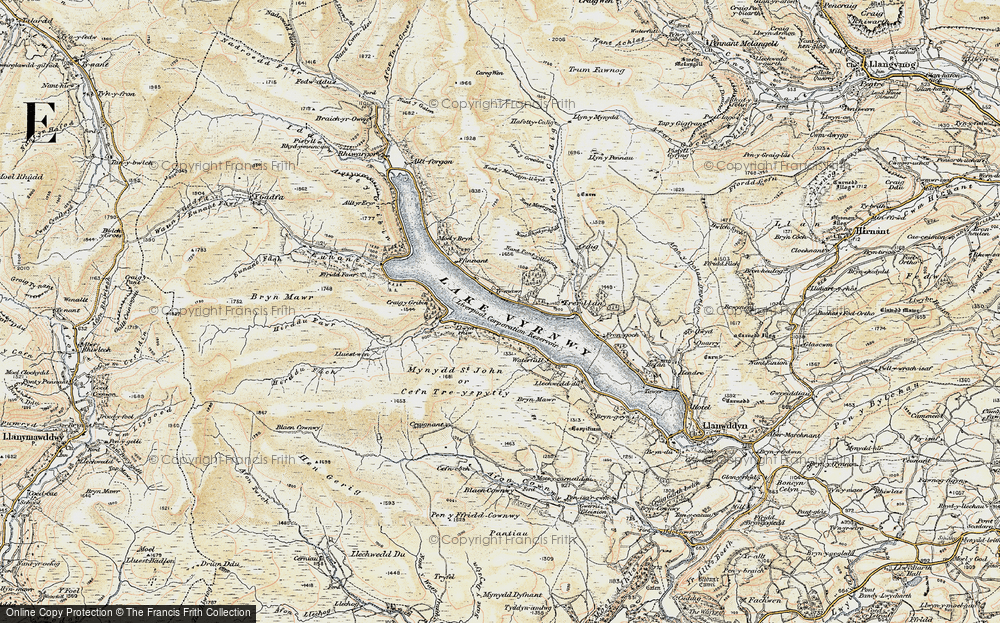 Old Map of Historic Map covering Allt y Gribin in 1902-1903