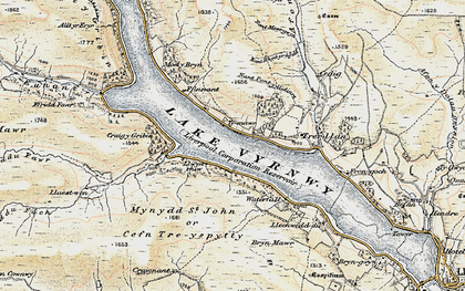 Old map of Afon Cedig in 1902-1903