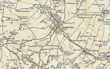 Old map of Lambourn in 1897-1900