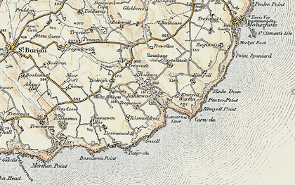 Old map of Lamorna in 1900