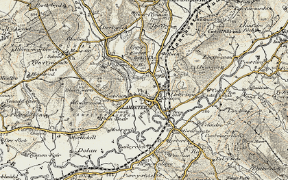 Old map of Lampeter in 1901-1902