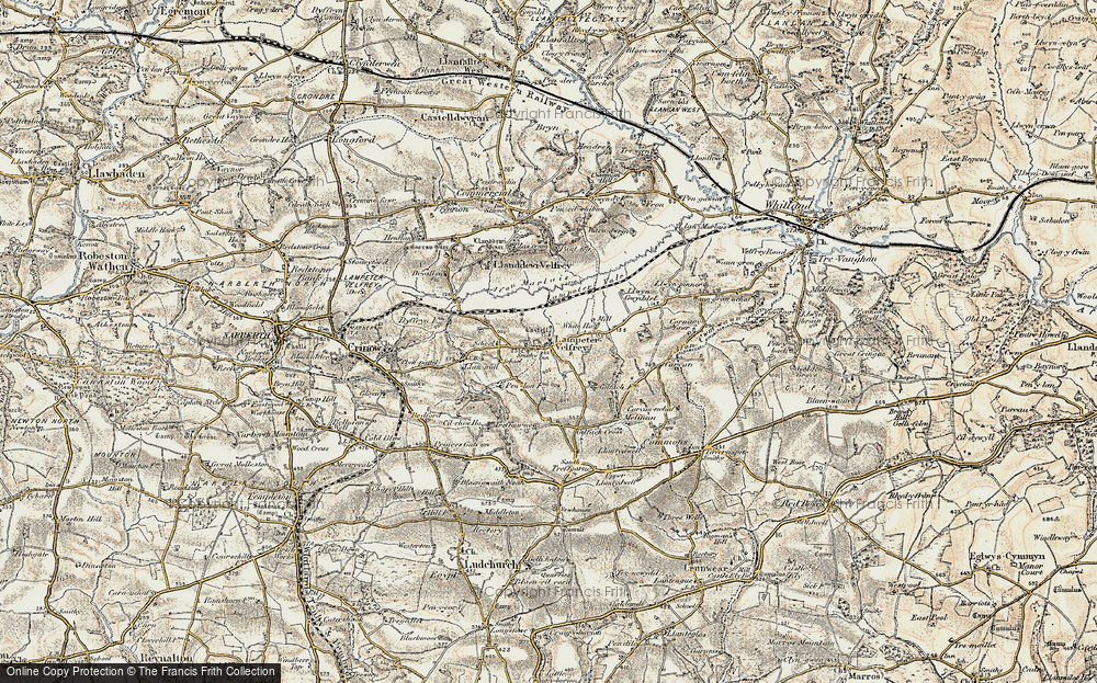 Old Map of Historic Map covering Afon Marlais in 1901