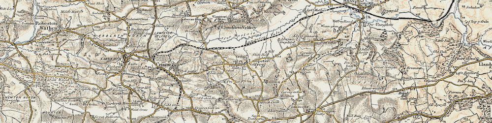 Old map of Afon Marlais in 1901