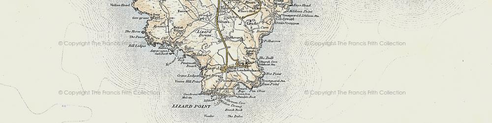 Old map of Landewednack in 1900