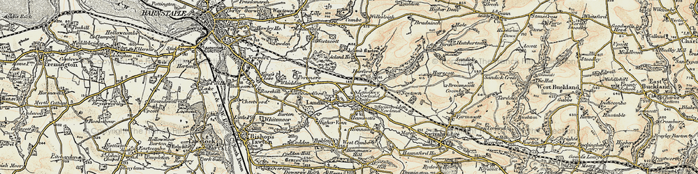 Old map of Acland Barton in 1900