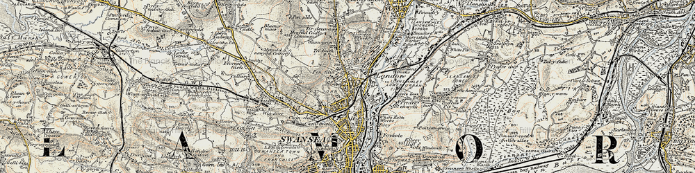 Old map of Landore in 1900-1901