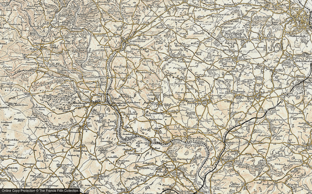 Old Map of Historic Map covering Barkingdon Manor in 1899