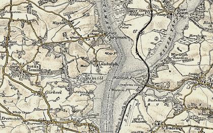 Old map of Landulph in 1899-1900