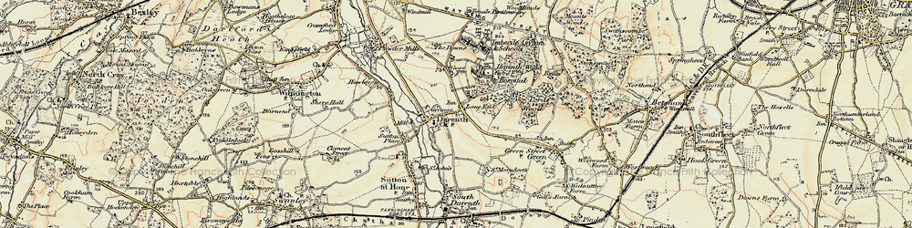 Old map of Lane End in 1897-1898