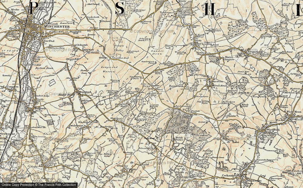Old Map of Historic Map covering Lane End Down in 1897-1900