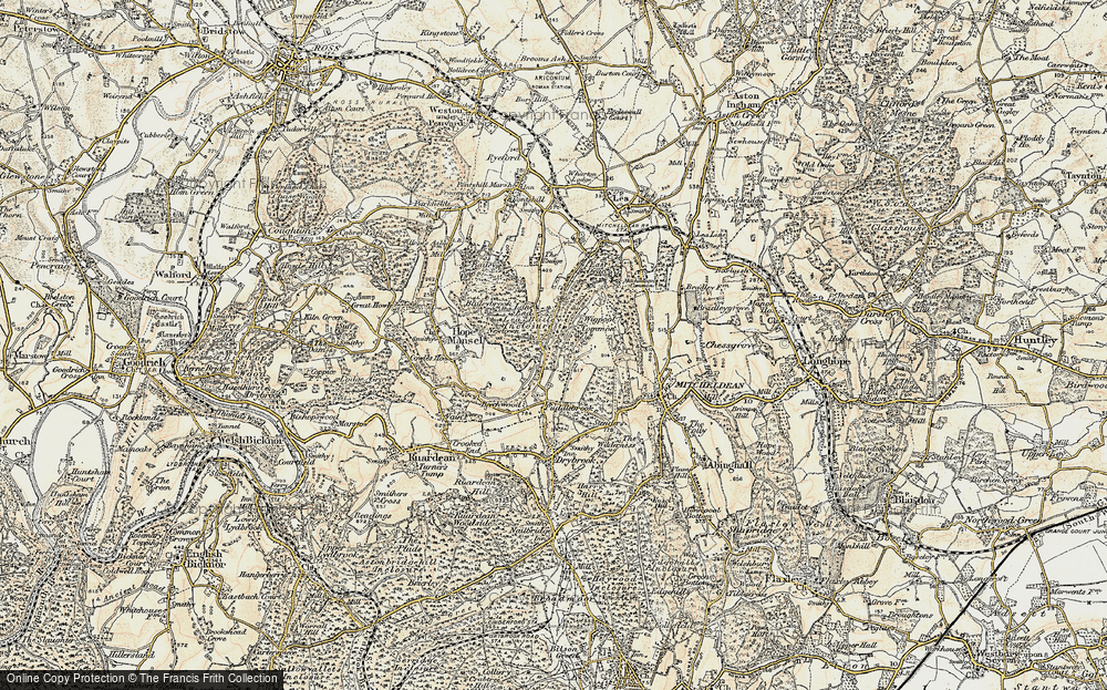 Old Map of Historic Map covering Lea Bailey Inclosures in 1899-1900