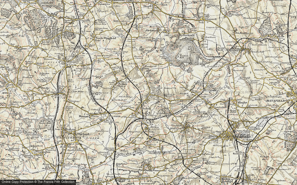 Old Map of Historic Map covering Tibshelf Services in 1902-1903