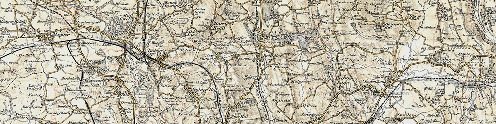 Old map of Lane Ends in 1902-1903