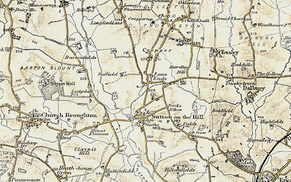 Old map of Lane Ends in 1902