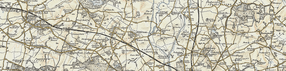 Old map of Lane Green in 1902