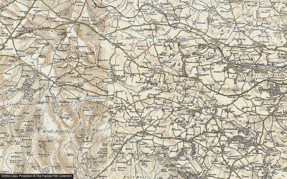 Old Map of Laneast, 1900 in 1900
